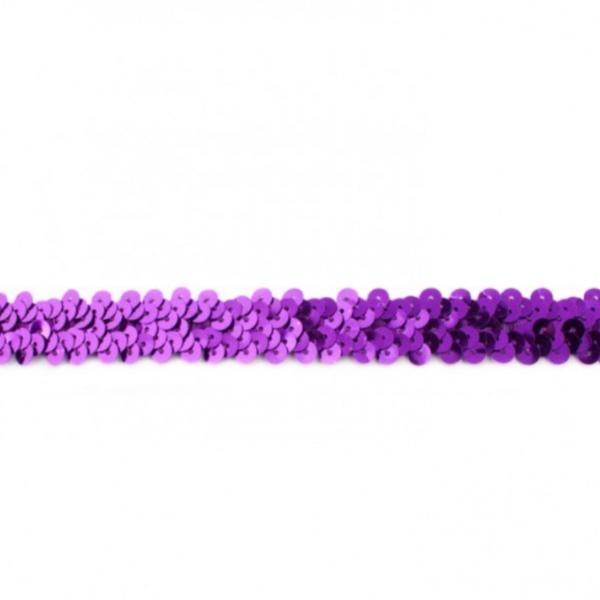 Elastisches Paillettenband - 20 mm - violett