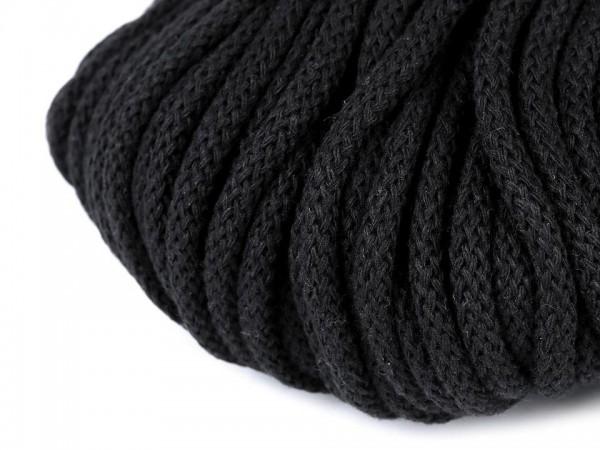 weiche Baumwollkordel - rund - schwarz - 5 mm