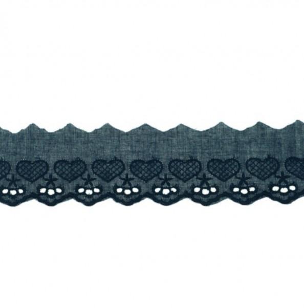 Wäschespitze Herzen - navy blau - 50 mm