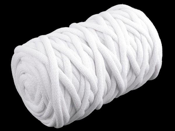 weiche Baumwollkordel - rund - weiß - 9 mm