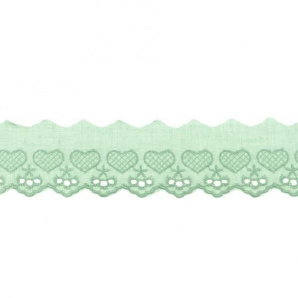Wäschespitze Herzen - altgrün - 50 mm
