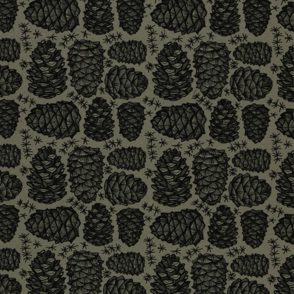 Swafing - Wyld Forest by Thorsten Berger - Allover - Zapfen - khaki - French Terry