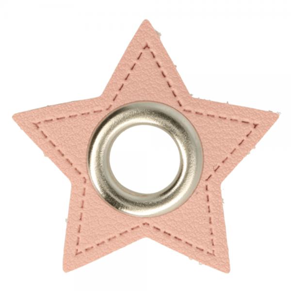Ösenpatch - Stern - 8mm - rosa-silber