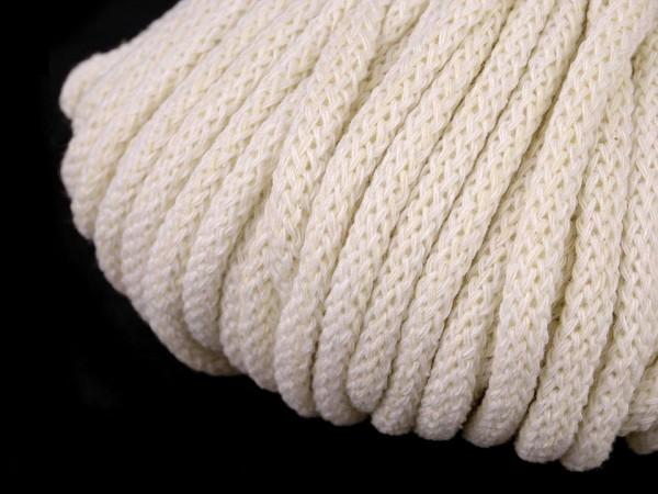 weiche Baumwollkordel - rund - naturweiß - 5 mm