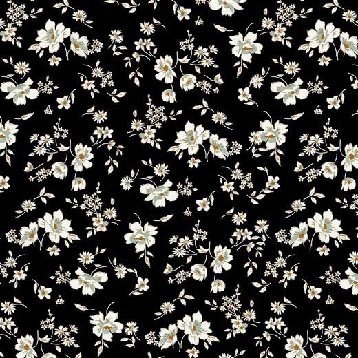 filigree flowers - schwarz - Tencel - Modal Jersey