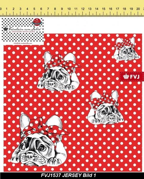 Fräulein von Julie - Rockabilly dog - Punkte - rot - Canvas