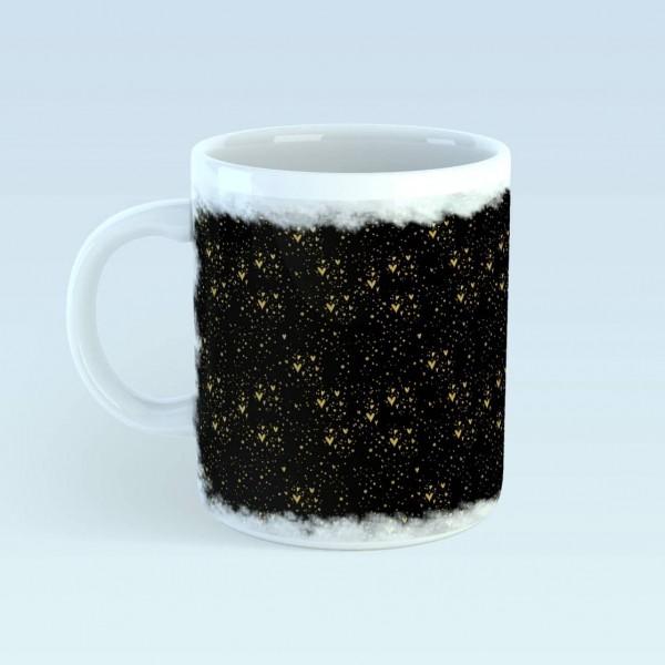 Eigenproduktion - Mädchentraum - Herzregen - schwarz-gold - Tasse