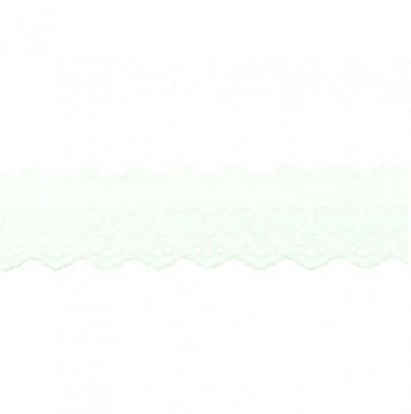 Wäschespitze Herzen - weiß - 50 mm