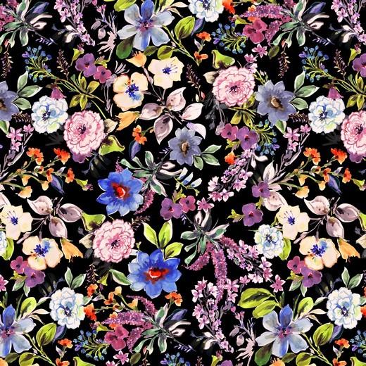 Blumengarten - schwarz - Viskose Jersey