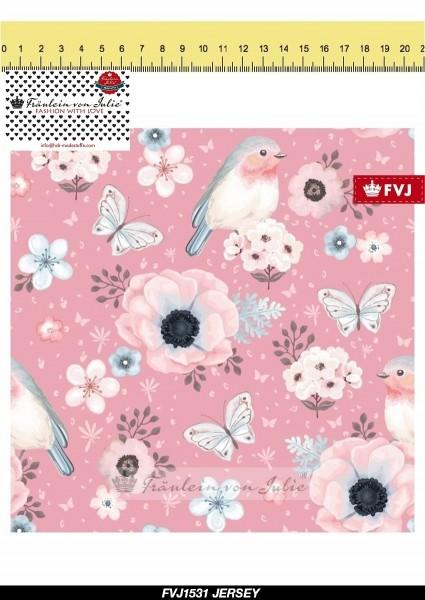 Fräulein von Julie - Flower Birds - rosa - BW-Jersey