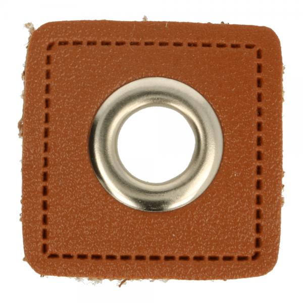 Ösenpatch - Viereck - 8mm - braun-silber