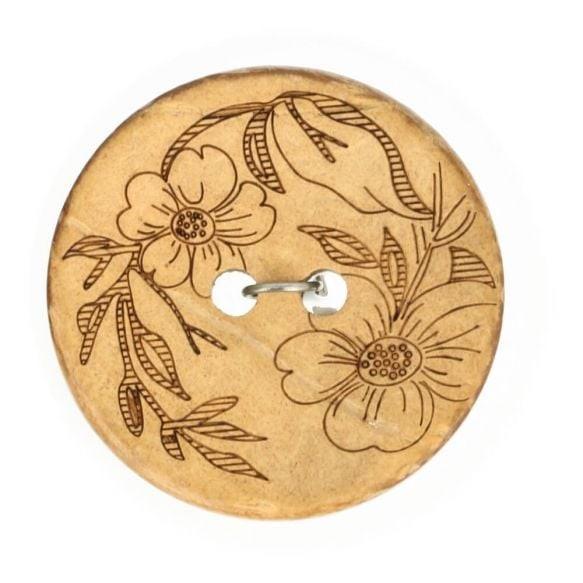 Kokosknopf - gelasert - mit Blume - Größe 40 - 25mm