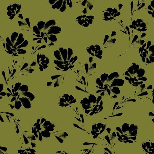 black flowers - grün - Tencel - Modal Jersey