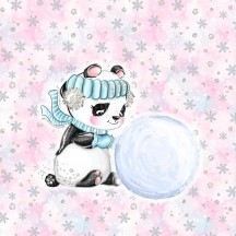 Panel - Pandabär im Schnee - French Terry