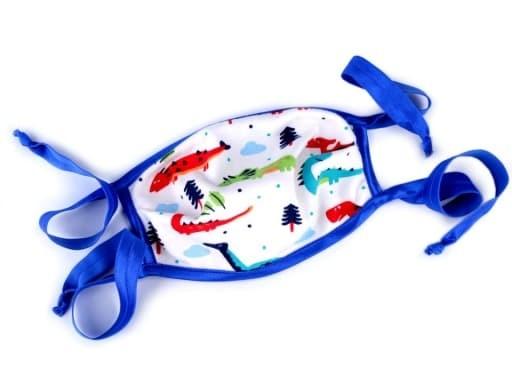 Behelfs-Mund-Nase-Maske - für Kinder - Dinos - blau