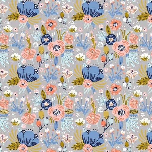 Flowers - weiss - BW-Jersey GOTS