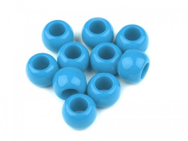 Großlochperle - glänzend - 11x14 mm - azurblau - 1 Stk