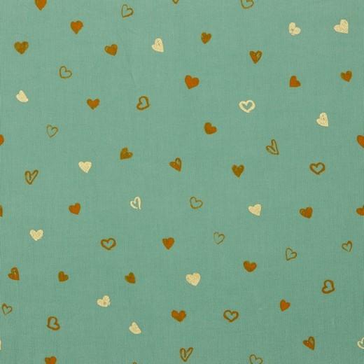 Glitter Heart - Babycord - altgrün