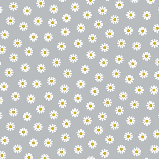 Daisy - Gänseblümchen - grau - Popeline