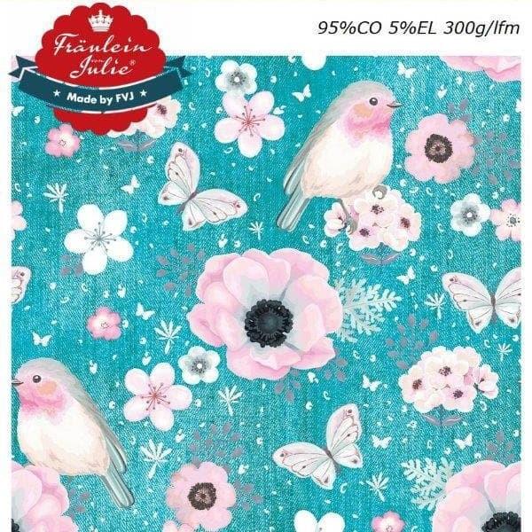 Fräulein von Julie - Flower Birds - denim türkis - Baumwolljersey