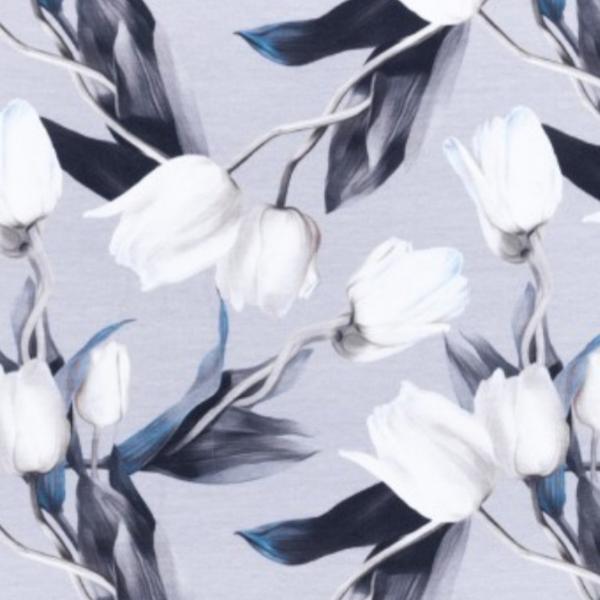 Tulpen - hellgrau - Jersey -