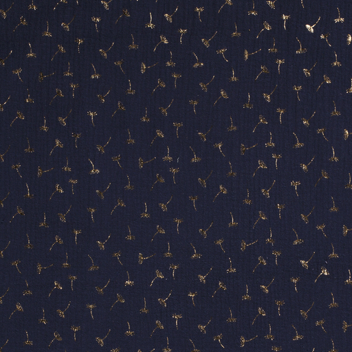 Musselin - Folienprint - gold - Pusteblume - dunkelblau