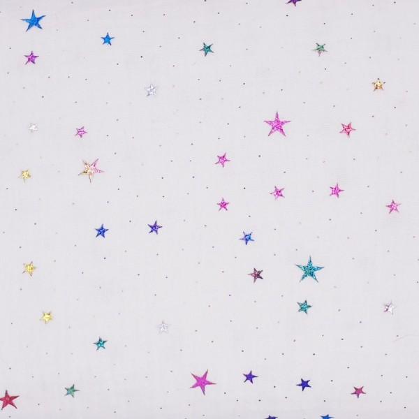 Musselin - Folienprint - regenbogen - Sterne - weiß
