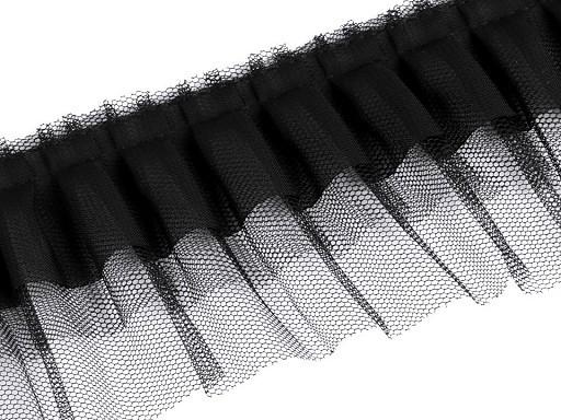 super softe Rüschenborte - schwarz - 70mm