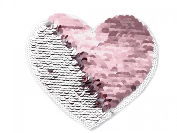 Applikation - Pailletten-Herz - rosa-silber - 14x14 cm - 1 Stk