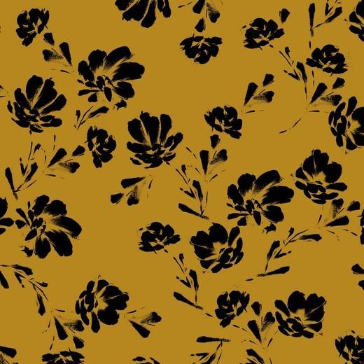 black flowers - ocker - Tencel - Modal Jersey