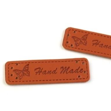 Kunstleder Label - Handmade - Schmetterling - mittelbraun