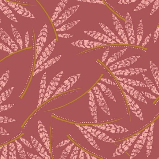 Rosella - Blätterakzente - ziegelrot - Viskose Jersey