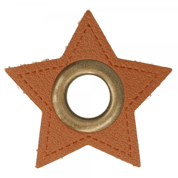 Ösenpatch - Stern - 8mm - braun-gold