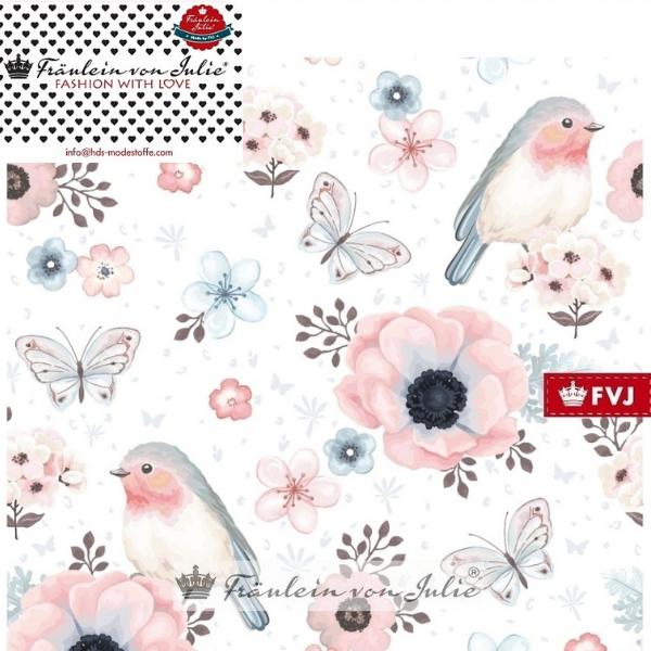 Flower Birds - weiß - Baumwolljersey