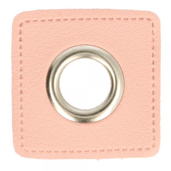 Ösenpatch - Viereck - 11mm - rosa-silber