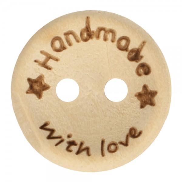Holzknopf - handmade with love - Größe 32 - 20mm