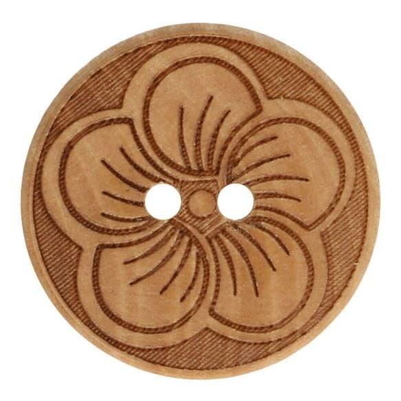Holzknopf - mit großer Blume - Größe 40 - 25mm