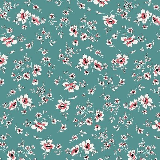 filigree flowers - altblau - Tencel - Modal Jersey