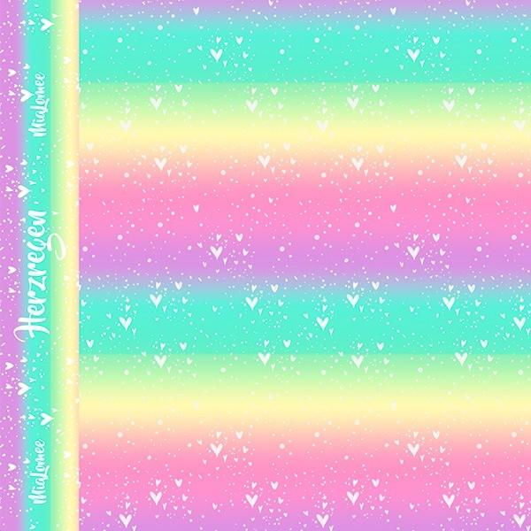 Eigenproduktion - Herzregen - regenbogen pastell - Baumwoll-Jersey