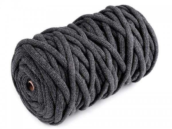 weiche Baumwollkordel - rund - grau-trüb - 9 mm