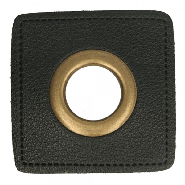 Ösenpatch - Viereck - 11mm - schwarz-gold