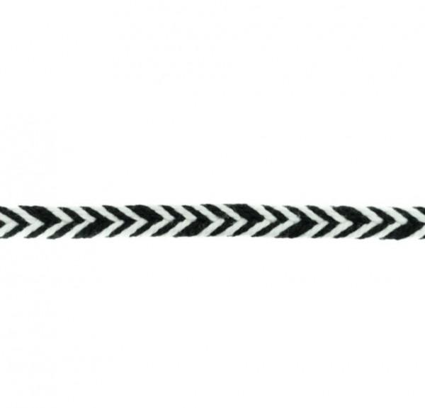 Baumwollkordel Fischgrät - schwarz - 10 mm -