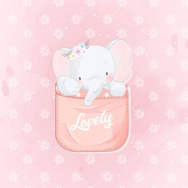 Panel - Lovely Elephant - French Terry