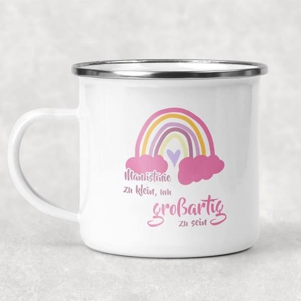 Eigenproduktion - Lovely Rainbows - Emaille-Tasse - vanille-pink