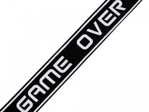 Webband- Game over - schwarz - 25mm