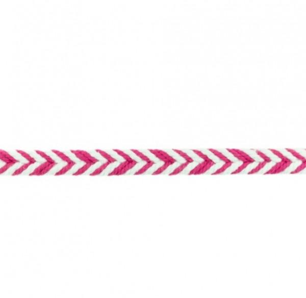 Baumwollkordel Fischgrät - fuchsia - 10 mm -