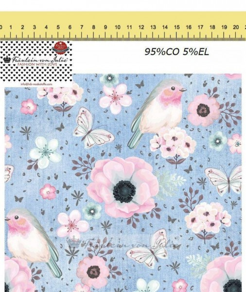 Fräulein von Julie - Flower Birds - denim hellblau - Baumwolljersey