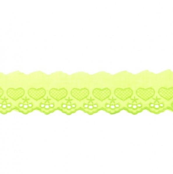 Wäschespitze Herzen - lime - 50 mm -