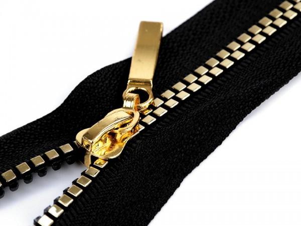 teilbarer Reißverschluss - schwarz-gold - 60 cm - 1 Stk