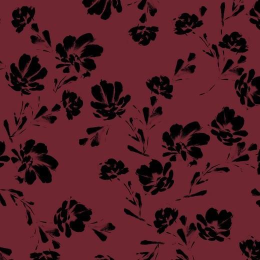 black flowers - bordeaux - Tencel - Modal Jersey